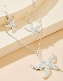 Fashion Silver Starfish Alloy Earrings And Necklace Set