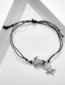 Fashion Black Tortoise And Starfish Braided Rope Anklet
