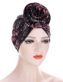 Fashion Black + Pink Cashew Print Forehead Flower Cap