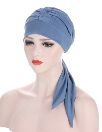 Fashion Denim Blue Pure Color Crystal Hemp Long Tail Bow Turban Hat