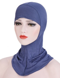 Fashion Denim Blue Pure Color Mercerized Cotton Turban Cap