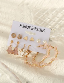 Fashion Pink Alloy Tassel Crystal Winding Butterfly Earring Set