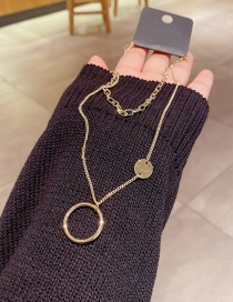 Fashion Real Gold Plated Metal Disc Double Layer Necklace In Real Gold