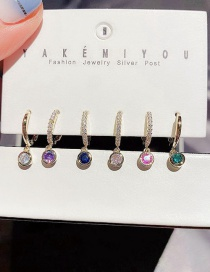Fashion Golden Micro-set Zircon Geometric Earrings Set