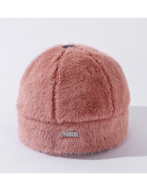 Fashion Pink Mink Letter Rivet Diamond Thickened Landlord Hat