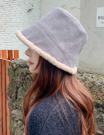 Fashion Gray Suede Double-sided Lamb Wool Fisherman Hat
