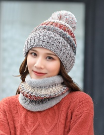 Fashion Gray Contrasting Color Wool Ball Plus Velvet Thick Knitted Bib Woolen Hat