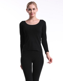 Fashion Black Double-sided Brushed Seamless Round Neck Womens Thermal Underwear Set