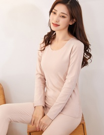Fashion Beige Plus Velvet Round Neck Double-sided Brushed Womens Seamless Thermal Underwear Set