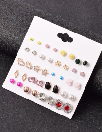 Fashion Suit Love Drop Diamond Alloy Geometric Stud Earrings Set