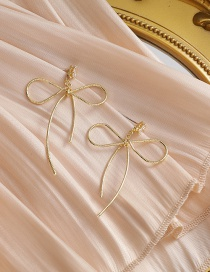 Fashion Golden Alloy Earrings With Bow And Diamonds
