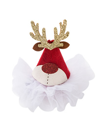 Fashion Red Christmas Moose Horns Flannel Christmas Hat Hairpin