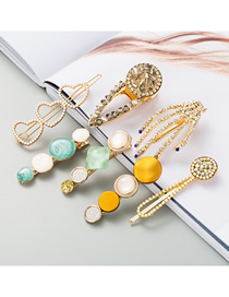 Fashion 7 Piece Set Pearl And Diamond Geometric Alloy Hairpin