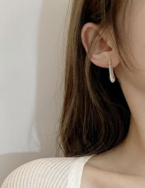 Fashion Golden Paper Clip With Rhinestone Alloy Earrings