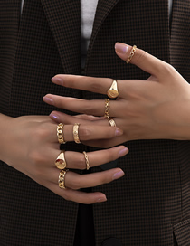 Fashion Golden Hollow Moon Geometric Alloy Ring Set