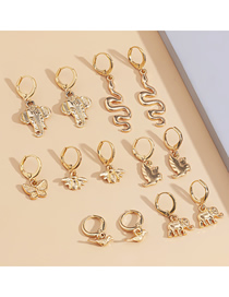 Fashion Golden Alloy Butterfly Geometric Earrings Set