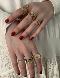 Fashion Golden Round Alloy Love Chain Geometric Ring Set
