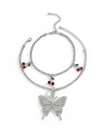 Fashion White K+transparent Diamond Diamond-studded Big Butterfly Cherry Alloy Multilayer Anklet