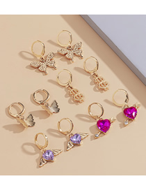 Fashion Golden Micro-inlaid Zircon Butterfly Heart-shaped Geometric Earrings