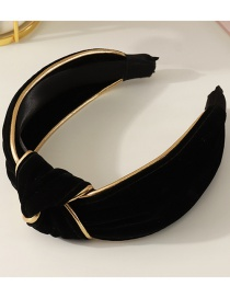 Fashion Black Striped Knotted Fabric Wide-brimmed Headband