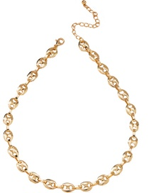 Fashion Golden Trumpet Pig Nose Alloy Hollow Necklace