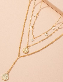 Fashion Golden Geometric Disc Alloy Multilayer Necklace