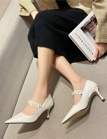 Fashion White Pointed Shallow Mouth Silk High Stiletto Heel Pearl Shoes
