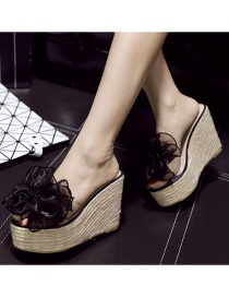 Fashion Black Large Bow Transparent Wedge Heel Platform High Heel Open-toed Sandals And Slippers