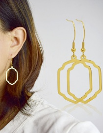 Fashion Gold Color Titanium Steel Polygon Hollow Earrings