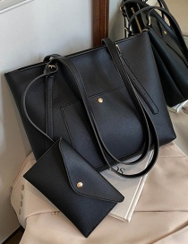 Fashion Black Stitching Solid Color Large Capacity Single Shoulder Handbag