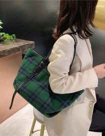Fashion Green Large-capacity Houndstooth Stitching Woolen Cloth Shoulder Bag