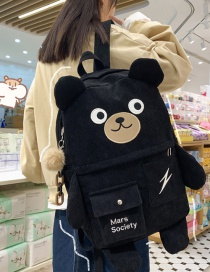 Fashion Black Send Pendant Large Capacity Corduroy Bear Backpack