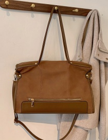 Fashion Brown Frosted Stitching Large Capacity Shoulder Handbag