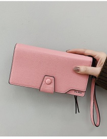 Fashion Pink Flap Letter Stamped Long Wallet