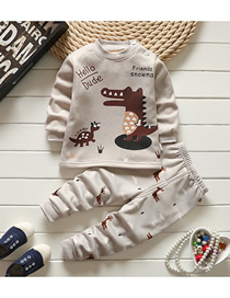 Fashion Dinosaur 75/120 Is Recommended For Height 110 Printed Plus Velvet Thick Milk Silk Childrens Thermal Underwear And Home Service Suit