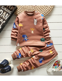 Fashion Coffee Dinosaur No. 75/120 Is Recommended For Height 110 Printed Plus Velvet Thick Milk Silk Childrens Thermal Underwear And Home Service Suit