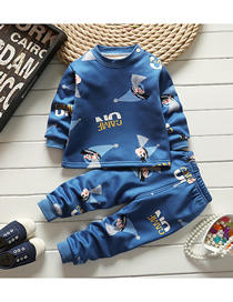 Fashion Little Boy Size 75/120 Is Recommended For Height 110 Printed Plus Velvet Thick Milk Silk Childrens Thermal Underwear And Home Service Suit
