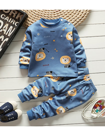Fashion Little Lion 75/120 Is Recommended For Height 110 Printed Plus Velvet Thick Milk Silk Childrens Thermal Underwear And Home Service Suit