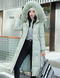 Fashion Pea Green Color Long Section Waist-knee Thick Fur Collar Quilted Jacket