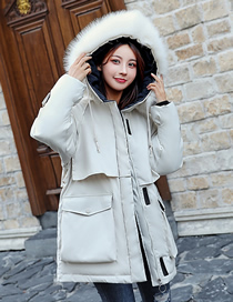 Fashion Creamy-white Large Fur Collar Hooded Mid-length Down Padded Jacket