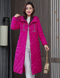 Fashion Rose Red Extended Thick Embroidered Hooded Down Padded Jacket