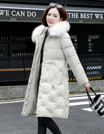Fashion Off-white Mid-length Slim-fit Large Fur Collar Embroidered Down Padded Jacket