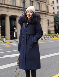 Fashion Navy Blue Detachable Mid-length Over-knee Thick Down Padded Jacket With Large Fur Collar