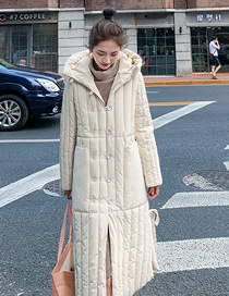 Fashion Off-white Split Hooded Loose And Thick Long Down Padded Jacket