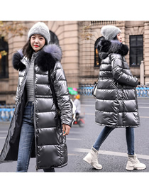Fashion Silver Color Hooded Down Cotton Padded Jacket With Thick Shiny Large Fur Collar
