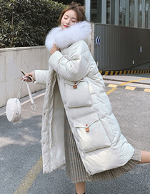 Fashion Creamy-white Hooded Long Coat With Big Pockets And Fur Collar