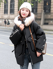 Fashion Black Loose Mid-length Warm Thick Hooded Cotton Jacket