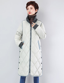 Fashion Off-white Plaid Thickened Loose Long Down Padded Jacket