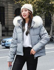 Fashion Bright Gray Thick And Warm Big Fur Collar Hooded Short Shiny Cotton Jacket