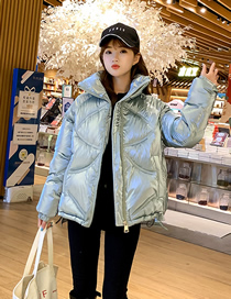 Fashion Bean Green Letter Embroidered Glossy Short Bread Coat